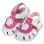 (13~15公分)雅致小花白色皮質寶寶護趾涼鞋