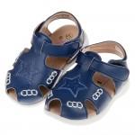 (13~15.5公分)台灣製深藍色星星圖樣皮革寶寶涼鞋
