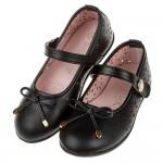 (17~23公分)台灣製霧面素雅風格蝴蝶結黑色公主鞋