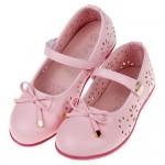 (17~23公分)台灣製霧面素雅風格蝴蝶結粉色公主鞋