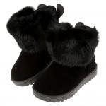 (18~23.5公分)兔兔耳絨毛黑色保暖內裡兒童雪靴P#I...