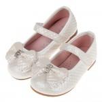 (15.5~23.5公分)菱格紋典雅鑽飾蝴蝶結白色兒童公主鞋