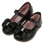 (15.5~23.5公分)菱格紋典雅鑽飾蝴蝶結黑色兒童公主鞋