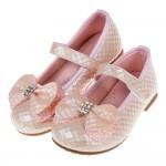 (15.5~23.5公分)菱格紋典雅鑽飾蝴蝶結粉色兒童公主鞋