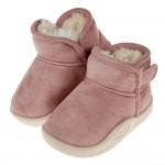 (14~18公分)毛茸茸藕粉色寶寶保暖靴雪靴P#IN2NG*...