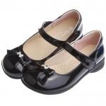 (20~25公分)典雅淑女風格蝴蝶結鑽飾亮黑色公主鞋學生鞋
