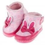 (13.5~16公分)Miffy米飛兔耳朵蝴蝶結粉色鋪毛寶寶皮革靴