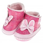 (13.5~16公分)Miffy米飛兔耳朵蝴蝶結桃色鋪毛寶寶皮革靴