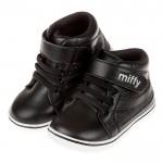 (13.5~15.5公分)Miffy米飛兔閃亮黑色寶寶皮革靴...