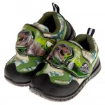 (15~20公分)侏儸紀公園暴龍綠色兒童電燈休閒鞋