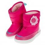 (14~18公分)ArnoldPalmer雨傘牌花朵印花桃色兒童中筒靴
