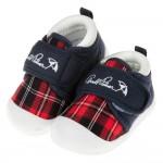 (13~14.5公分)雨傘牌專櫃款藍紅色格紋寶寶布質學步鞋
