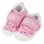 (13~14.5公分)雨傘牌專櫃款粉色愛心紋寶寶布質學步鞋
