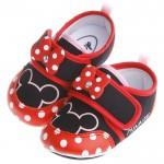 Disney迪士尼米妮亮紅棉柔防滑寶寶學步鞋(13公分~1...