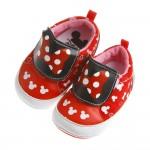 Disney迪士尼米妮紅色蝴蝶結印花寶寶學步鞋(13~15公...