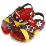 Disney迪士尼米奇紅黑雙色交織歐風兒童氣墊涼鞋(16~21公分)