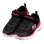(17~23.5公分)SKECHERS_FLEX_透氣網布黑紅兒童機能運動鞋P#KN3ND*XBB