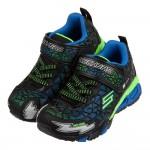 (17~23.5公分)SKECHERS網格硬派黑藍色兒童電燈運動鞋P#KN3LDXBB