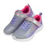 (17~23公分)SKECHERS_DYNA_LITE灰紫色閃亮金蔥兒童運動鞋P#KH4NJ*XGG