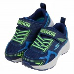 (17~23.5公分)SKECHERS俐落造型銀光綠藍色兒童機能運動鞋P#KN3NB*XBB