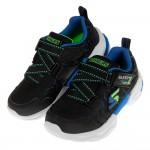 (17~24公分)SKECHERS_TECHTRONIX_黑深藍螢光綠兒童機能運動鞋