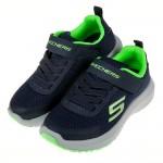 (17~24公分)SKECHERS_DYNAMIC_海軍藍螢光綠透氣兒童機能運動鞋