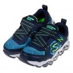 (17~23.5公分)SKECHERS_S_LIGHTS_藍色Z型電燈兒童機能氣墊運動鞋