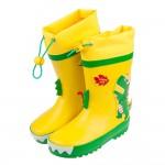 (18~23公分)3D立體恐龍亮彩黃色束口款兒童橡膠雨鞋P#...