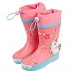(18~23公分)3D立體獨角獸絢麗桃色束口款兒童橡膠雨鞋P#AA3RH*XGG
