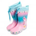 (15~22公分)可愛美人魚粉彩色束口帶橡膠防滑兒童雨鞋P#...