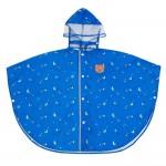 (S~L)可愛小動物披肩式藍色兒童斗篷雨衣