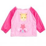 (S~L)小小長頸鹿粉色兒童長袖圍兜