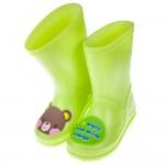 (16~21公分)巧克力小熊青蘋果綠色兒童橡膠雨鞋