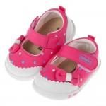 (12.5~15公分)可水洗亮桃紅寶寶布質學步鞋'