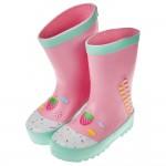 (16~22公分)草莓甜心薄荷粉色兒童橡膠雨鞋
