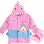 (S~XL公分)3D立體鯊魚造型粉色兒童雨衣