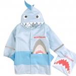 (S~XL公分)3D立體鯊魚造型藍色兒童雨衣