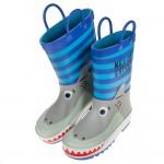 (15~21公分)3D立體鯊魚條紋藍色橡膠防滑兒童雨鞋