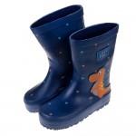 (15~22公分)圓滾滾小肚恐龍星夜藍兒童橡膠雨鞋