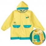 (S~XL公分)火山恐龍黃色可背書包兒童雨衣