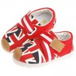 英倫風潮流綁帶活力紅防滑超柔軟橡膠底休閒鞋(14公分~16公分)