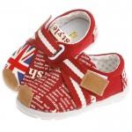 歐風英倫玩酷字母潮流綁帶個性紅防滑超柔軟橡膠底休閒鞋(14公分~16公分)