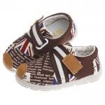 歐風英倫玩酷字母潮流綁帶紳士棕防滑超柔軟橡膠底休閒鞋(14公分~16公分)