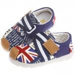 歐風英倫玩酷字母潮流綁帶帥氣藍防滑超柔軟橡膠底休閒鞋(14公分~16公分