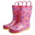 繽紛星光桃紅色輕量兒童橡膠雨鞋(18~22.5公分)