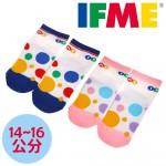 (12~14公分)IFME台灣製彩色圓點止滑寶寶襪(藍/粉)