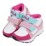 (17~24公分)FILA經典中筒桃粉藍色兒童預防矯正鞋機能...