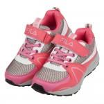 (19~24公分)FILA經典網狀防潑水桃紅灰兒童機能運動鞋...