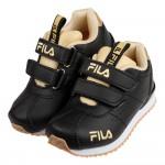 (16~22公分)FILA義式經典黑金橡膠底兒童運動鞋R#K...