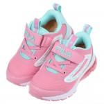 (16~22公分)FILA康特杯系列粉綠色兒童氣墊運動慢跑鞋...